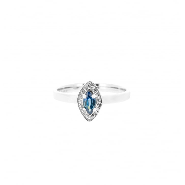 Marquise Sapphire & Diamond Crossover Ring
