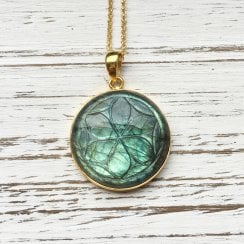 Carved Labradorite Necklace in Gold Plated Silver