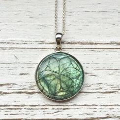 Carved Labradorite Necklace in Silver