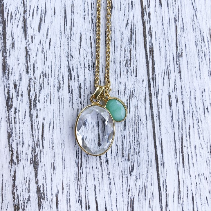 Mayd Long Rock crystal and chrysoprase necklace