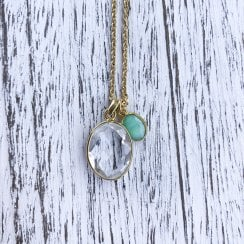 Long Rock crystal and chrysoprase necklace