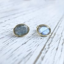 Mayd Oval Gemstone Gold Plated Silver Studs