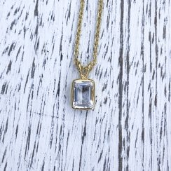 Rectangular Rock Crystal and Gold Plated Silver Necklace