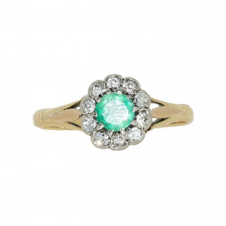 Mid 20th century Emerald and Old Cut Diamond Cluster Ring