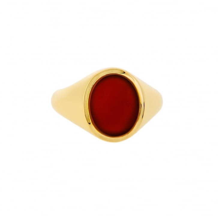 Mid 20th Century Oval Carnelian Signet Ring
