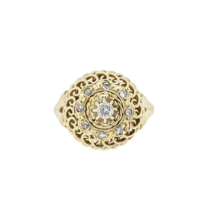 Mid Century Bombe Ring with Rose Cut Diamonds