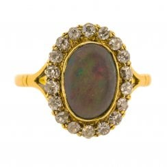 Mid Century Diamond Halo and Opal Cabochon Ring