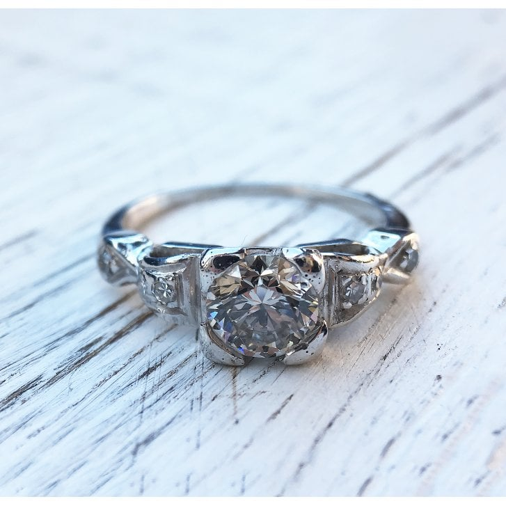 Mid Century Diamond Solitaire Ring with Bow Shoulders