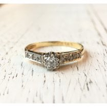 Mid-Century Diamond Solitaire Ring with Shoulder Accents