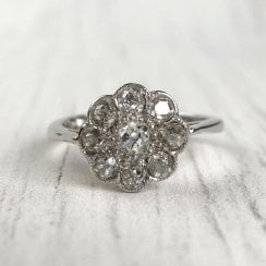 Mid-Century Old Cut Diamond Cluster Ring