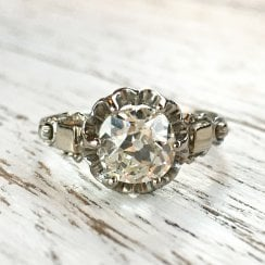 Mid-Century Old Cut Diamond Solitaire