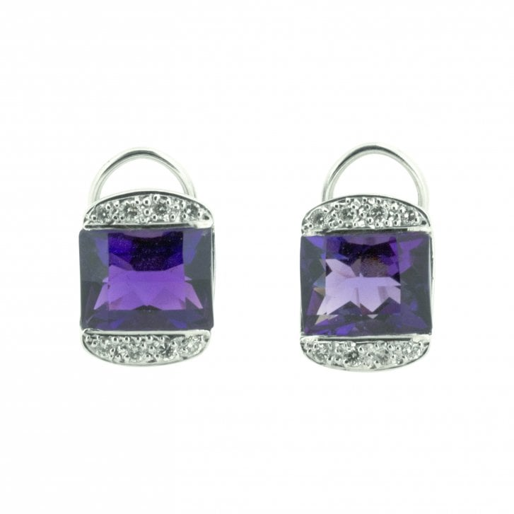 Mixed Cut Amethyst with Diamond flanks clip on Earrings