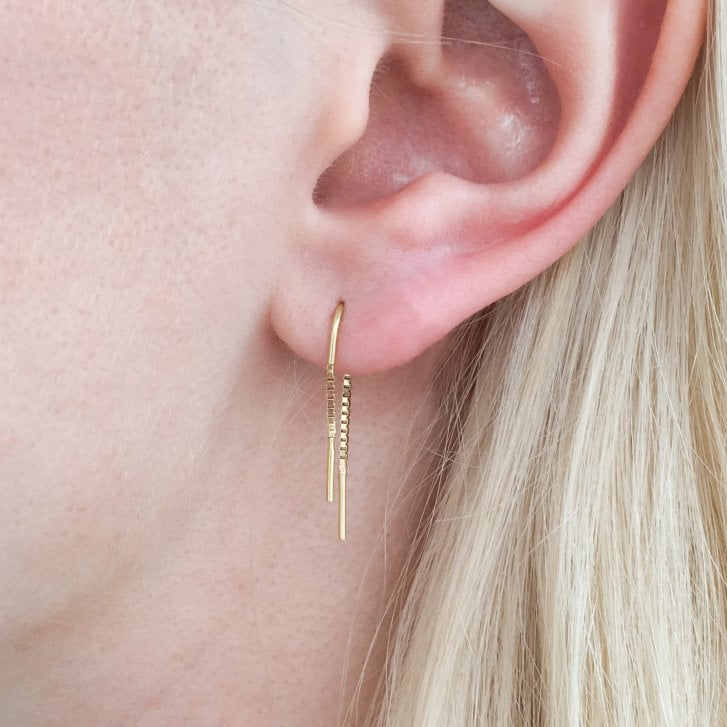 Molo Me 18ct Gold Thread Through Simple Earrings