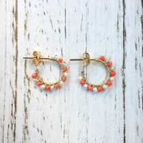 Molo Me Aga coral and Pearl Hoop Earrings