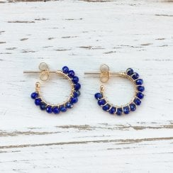 Molo Me Aga Hoops with Lapis Lazuli in Gold
