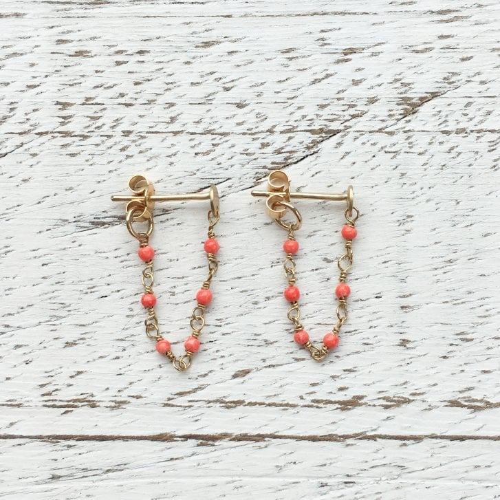 Molo Me Agata Gold Chain Earrings with Coloured Gems