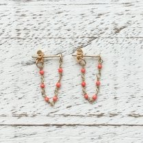 Agata Gold Chain Earrings with Coloured Gems