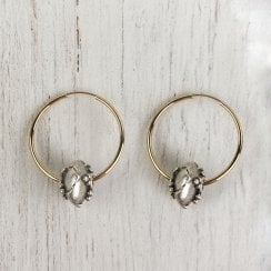Molo Me Antique Silver Bead and Gold Hoops