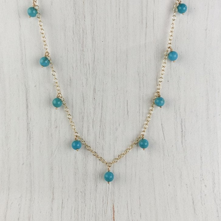 Molo Me Fringe Necklace with Turquoise in 9Ct gold