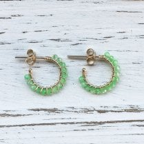 Molo Me Gold Aga Hoops with green quartz