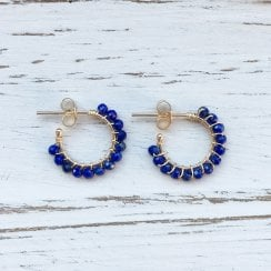 Molo Me Gold Aga Hoops with Lapis Lazuli