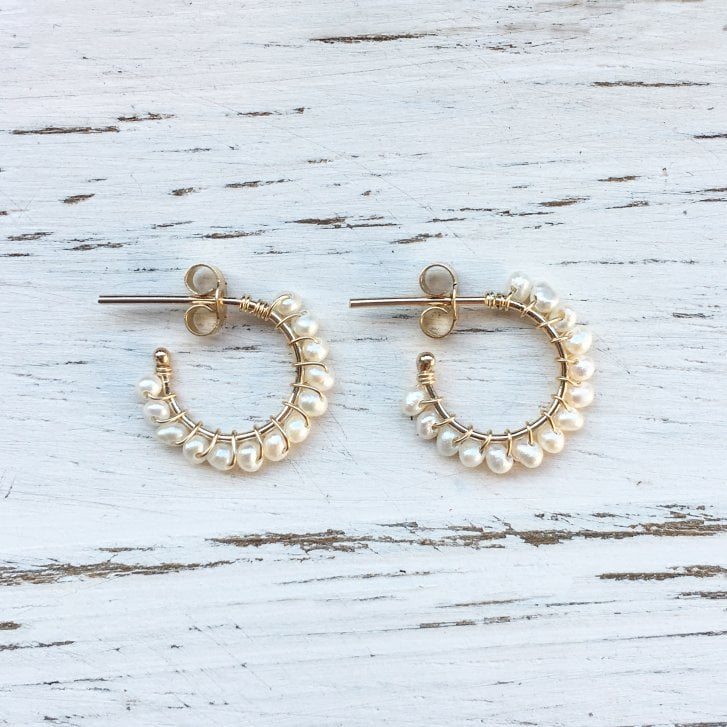 Molo Me Gold Aga Hoops with White Seed Pearls