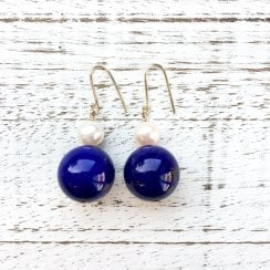 Molo Me Lapis Lazuli Ball and Pearl Drop Earrings