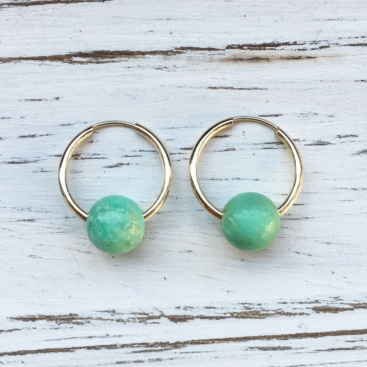 Molo Me Mama Ania Gold Hoops with Chrysoprase