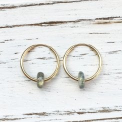 Molo Me Mama Ania Gold Hoops with Labradorite