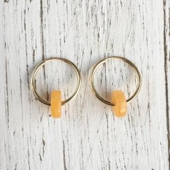 Molo Me Mama Ania Yellow Jade Hoop Earrings