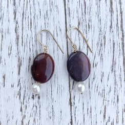 Molo Me Maroon Jasper and Pearl Drop Earrings in Gold
