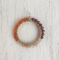 Molo Me Peace Pendant with Carnlian, Pink Garnet and Peach Moon