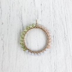 Molo Me Peace Pendant with Peridot, Peach Moonstone and Bue Cha