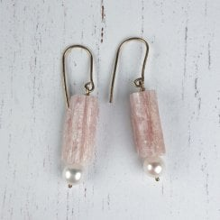 Molo Me Rough Pink Tourmaline and Pearl Drop Earrings