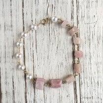 Molo Me Rough Pink Tourmaline and White Pearl 9Ct Bracelet