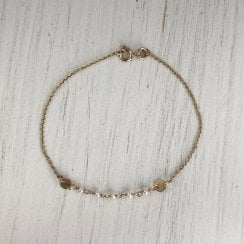 Seed pearl and Gold chain Bracelet