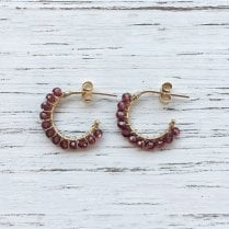 Small Aga hoops with Pink Garnet
