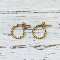 Molo Me Small Rosary Hoops in Gold Plated Silver
