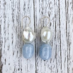 Molo Me Smooth Aquamarine and Baroque Pearl Drop Earrings