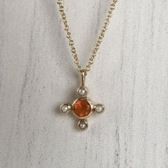Molo Me Tata Necklace with Carnelian And Seed Pearls