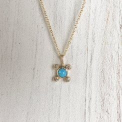 Molo Me Tata necklace with turquoise and Diamonds
