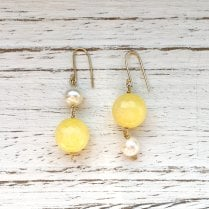 Molo Me Upside Down Earrings with Yellow Jasper and White Pearl