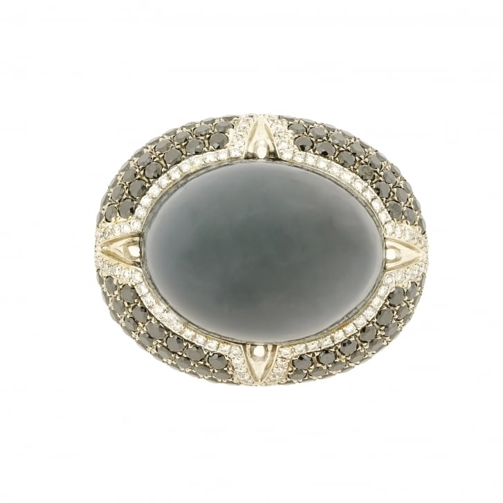 Moonstone with Hematite and Diamond Halo Cocktail Ring