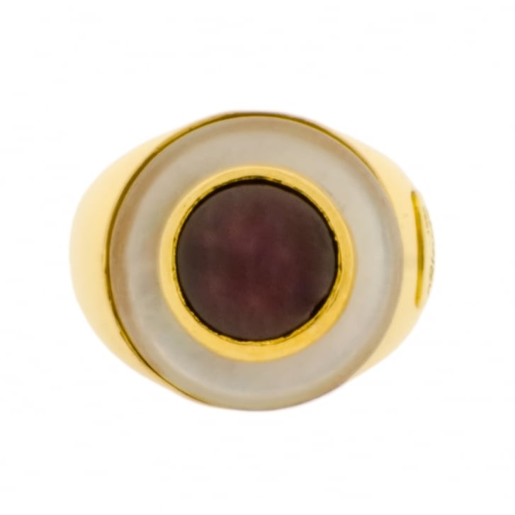 Mother of Pearl and Garnet 'Bull's Eye' Effect Ring