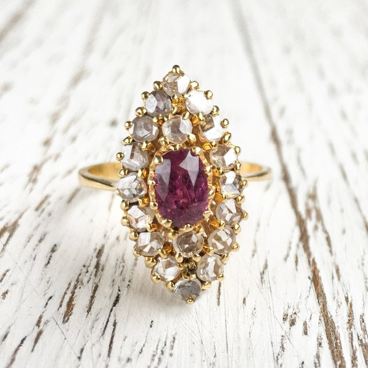 Navette Ring with Ruby and Rose Cut Diamonds