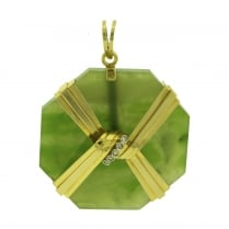 Nephrite Octagon Tablet with Knoted Diamond Accents