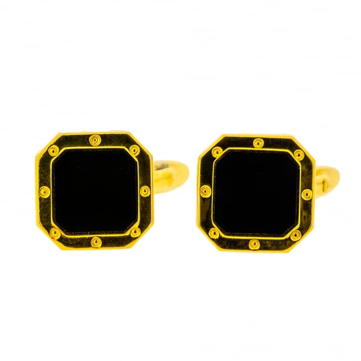 Octagon Black Gem with Screw Detailing Yellow Gilded Cufflinks