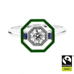 Octagon Ring in Fairtrade Gold with Recycled Diamond and Enamel