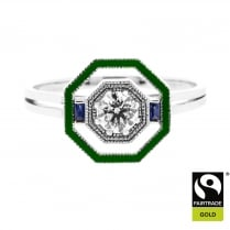 Octogon Ring in Fairtrade Gold with Recycled Diamond and Enamel