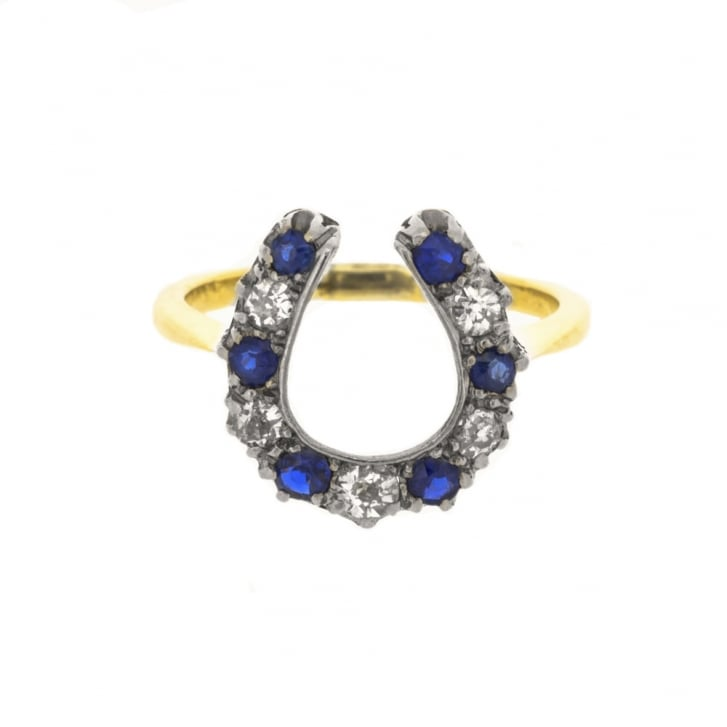 Old Cut Sapphires and Diamonds on Horseshoe Ring